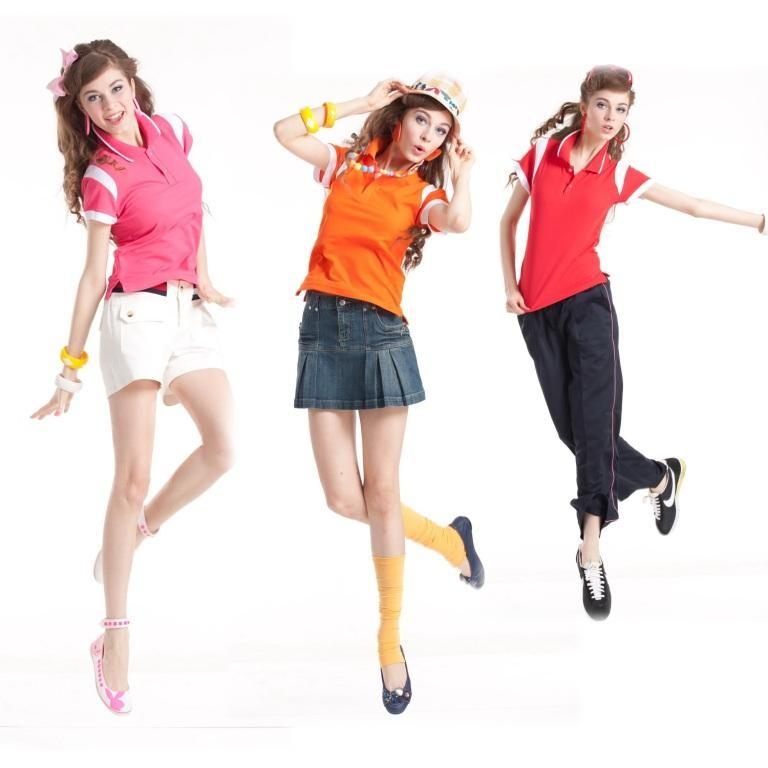 短袖排汗衣:女橘/白F526、女桃紅/白F528、女紅/白F527