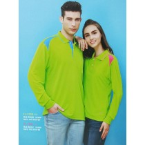 長袖上衣:男衣TJ-7552果綠/青鳥藍、女衣TJ-7551果綠/蜜桃紅