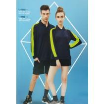 長袖上衣:男衣TJ-7556海軍藍/果綠、女衣TJ-7555海軍藍/果綠