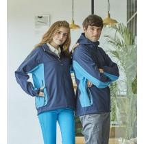 連帽防風保暖夾克:4808深藍/水藍