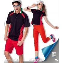 短袖排汗衣:男黑/紅P879、女黑/紅F579