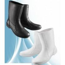 【達新牌】皮紋晴雨男短統雨鞋:A12白色、A13黑色