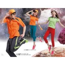 短袖排汗衣:女亮桔S5309、男亮桔S7309、女螢光綠S5307